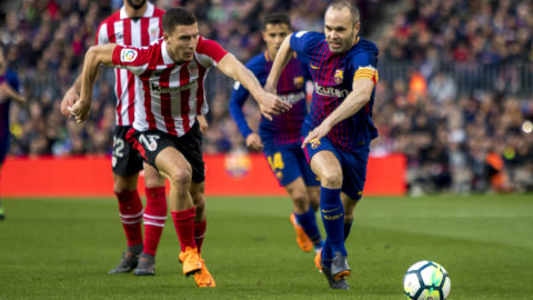 Andres Iniesta vies with De Marcos during the spanish league match between FC Barcelona and Athletic Club Bilbao at the Camp Nou Stadium in Barcelona, Catalonia, Spain on March 18,2018 (Photo by Miquel Llop/NurPhoto)