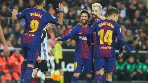 Luis Suarez, Philippe Coutinho, Leo Messi and Ivan Rakitic of FC Barcelona celebrates a goal during the spanish Copa del Rey semi-final, second leg match between Valencia CF and FC Barcelona at Mestalla Stadium, on February 8, 2018 in Valencia, Spain (Photo by Maria Jose Segovia/NurPhoto)