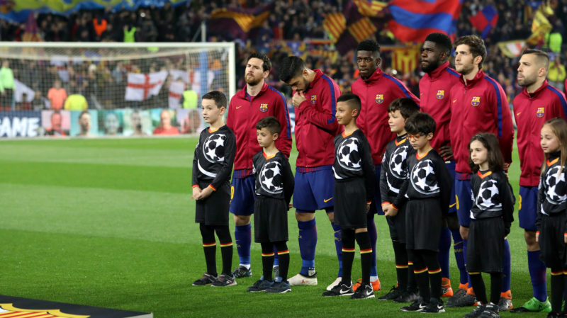 LIONEL MESSI of FC Barcelona looks on during the team line up ahead of the UEFA Champions League, round of 16, 2nd leg football match between FC Barcelona and Chelsea FC on March 14, 2018 at Camp Nou stadium in Barcelona, Spain - Photo Manuel Blondeau / AOP Press / DPPI