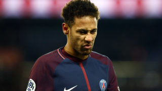 Neymar Jr of PSG reacts during the French Championship Ligue 1 soccer match between Paris Saint-Germain and Olympique de Marseille on february 25, 2018 at Parc des Princes stadium in Paris, France.  (Photo by Mehdi Taamallah/NurPhoto)