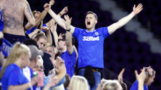 Fans of Scottish club Rangers FC celebrate after a goal by Josh Windass against Brazilian club Atletico Mineiro during the second half of their Florida Cup soccer game at Orlando City Stadium in Orlando, Florida on January 11, 2018. / AFP PHOTO / Gregg Newton