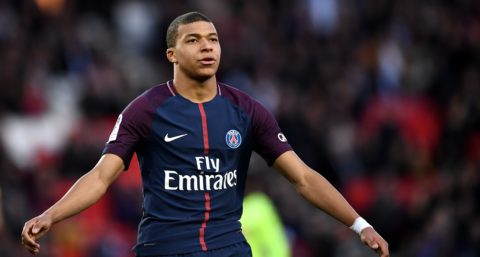 Paris Saint-Germain's French forward Kylian MBappe reacts during the French L1 football match between Paris Saint-Germain and Angers at the Parc des Princes stadium in Paris on March 14, 2018.   / AFP PHOTO / FRANCK FIFE