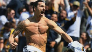 Zlatan Ibrahimovic from LA Galaxy celebrates after scoring against LAFC during their Major League Soccer (MLS) game at the StarHub Center in Los Angeles, California, on March 31, 2018. The 37 year old is playing his first game for the Los Angeles Galaxy.     / AFP PHOTO / Mark RALSTON