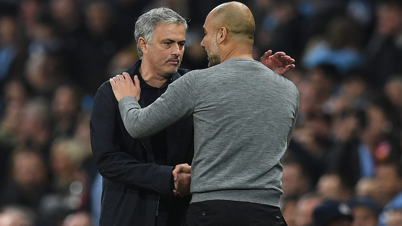 Manchester United's Portuguese manager Jose Mourinho (L) shakes hands Manchester City's Spanish manager Pep Guardiola following the English Premier League football match between Manchester City and Manchester United at the Etihad Stadium in Manchester, north west England, on April 7, 2018. Manchester United won the match 3-2. / AFP PHOTO / Paul ELLIS / RESTRICTED TO EDITORIAL USE. No use with unauthorized audio, video, data, fixture lists, club/league logos or 'live' services. Online in-match use limited to 75 images, no video emulation. No use in betting, games or single club/league/player publications.  /