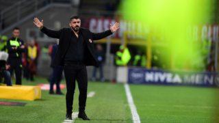 AC Milan's Italian coach Gennaro Gatusso gestures during the Italian Serie A football match AC Milan vs Sassuolo at the San Siro stadium in Milan on April 8, 2018. / AFP PHOTO / MIGUEL MEDINA