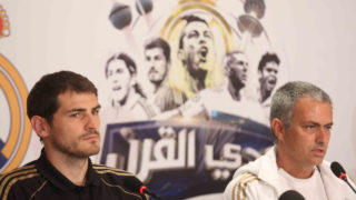 Portuguese manager of the Real Madrid football team, Jose Mourinho (R), and Captain, Iker Casillas, attend a press conference in Kuwait City on May 15, 2012. Real Madrid are to play a friendly match against Kuwait's national football team on May 16, at al-Kuwait SC stadium in Kuwait City. AFP PHOTO / YASSER AL-ZAYYAT / AFP PHOTO / YASSER AL-ZAYYAT