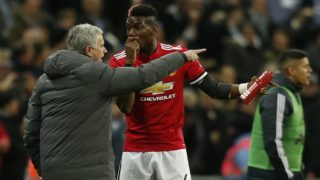 Manchester United's Portuguese manager Jose Mourinho (L) talks with Manchester United's French midfielder Paul Pogba (R) after the second Tottenham goal goes in during the English Premier League football match between Tottenham Hotspur and Manchester United at Wembley Stadium in London, on January 31, 2018. / AFP PHOTO / IKIMAGES / Ian KINGTON / RESTRICTED TO EDITORIAL USE. No use with unauthorized audio, video, data, fixture lists, club/league logos or 'live' services. Online in-match use limited to 45 images, no video emulation. No use in betting, games or single club/league/player publications.  /