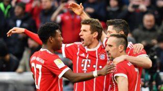 goaljubel  v.li:David ALABA (FC Bayern Munich),Thomas MUELLER (MULLER,FC Bayern Munich),Robert LEWANDOWSKI  (FC Bayern Munich), Franck RIBERY (FC Bayern Munich), jubilation,Freude,Begeisterung, Aktion, Fussball 1. Bundesliga. 28,matchday,matchday28, FC Bayern Munich (M)-Borussia Dortmund (DO) 6-0, am 31.03.2018 in Muenchen/Germany, A L L I A N Z   A R E N A.  usage worldwide