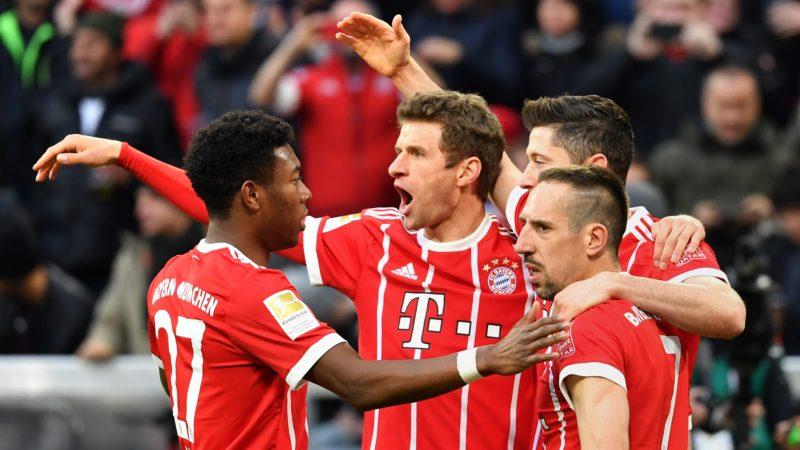 goaljubel  v.li:David ALABA (FC Bayern Munich),Thomas MUELLER (MULLER,FC Bayern Munich),Robert LEWANDOWSKI  (FC Bayern Munich), Franck RIBERY (FC Bayern Munich), jubilation,Freude,Begeisterung, Aktion, Fussball 1. Bundesliga. 28,matchday,matchday28, FC Bayern Munich (M)-Borussia Dortmund (DO) 6-0, am 31.03.2018 in Muenchen/Germany, A L L I A N Z   A R E N A. |usage worldwide