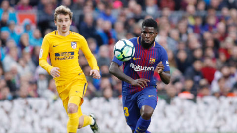 Samuel Umtiti of FC Barcelona during the Spanish championship Liga football match between FC Barcelona and Atletico de Madrid on March 4, 2018 at Camp Nou stadium in Barcelona, Spain - Photo Andres Garcia / Spain DPPI / DPPI