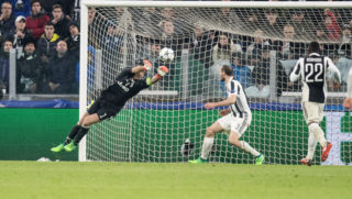 Gianluigi Buffon of Juventus makes a save during the UEFA Champions League, quarter finals, 1st leg football match between Juventus and Real Madrid on April 3, 2018 at Allianz Stadium in Turin, Italy - Photo Morgese - Rossini / DPPI