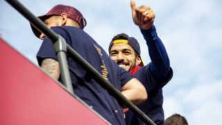 BARCELONA, SPAIN - APRIL 30: Luis Suarez of Barcelona (C) greets the fans as they celebrate the 2017-2018 La Liga title on a bus in Barcelona, Spain on April 30, 2018. Lola Bou / Anadolu Agency