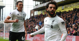 Liverpool's Mohamed Salah celebrates scoring his sides second goal  during the Premiership League  match between Crystal Palace and Liverpool at Wembley, London, England on 31 March 2018.    (Photo by Kieran Galvin/NurPhoto)