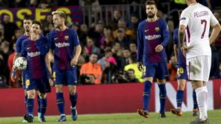 Leo Messi, Ivan Rakitic and Gerard piqué during the UEFA Champions League match between FC Barcelona and AS Roma at the Camp Nou Stadium in Barcelona, Catalonia, Spain on April 4, 2018 (Photo by Miquel Llop/NurPhoto)