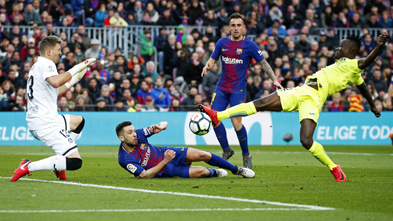 Djene Dakoman, Guaita, Jordi Alba and Paco Alcacer during the match between FC Barcelona and Getafe CF, for the round 23 of the Liga Santander, played at the Camp Nou Stadium on 11th February 2018 in Barcelona, Spain.   -- (Photo by Urbanandsport/NurPhoto)