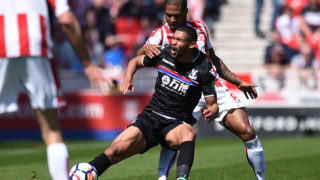 Stoke City's English defender Glen Johnson (R) fouls Crystal Palace's English midfielder Ruben Loftus-Cheek during the English Premier League football match between Stoke City and Crystal Palace at the Bet365 Stadium in Stoke-on-Trent, central England on May 5, 2018. / AFP PHOTO / Oli SCARFF / RESTRICTED TO EDITORIAL USE. No use with unauthorized audio, video, data, fixture lists, club/league logos or 'live' services. Online in-match use limited to 75 images, no video emulation. No use in betting, games or single club/league/player publications.  /
