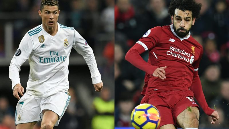 (COMBO) This combination of pictures created on May 23, 2018 shows Real Madrid's Portuguese forward Cristiano Ronaldo (L) during an UEFA Champions League football match on May 1, 2018 in Madrid, and Liverpool's Egyptian midfielder Mohamed Salah during an English Premier League match in Liverpool on December 26, 2017. Real Madrid CF and Liverpool FC will play the UEFA Champions League final football match in Kiev on May 26, 2018. / AFP PHOTO / GABRIEL BOUYS AND Paul ELLIS / RESTRICTED TO EDITORIAL USE. No use with unauthorized audio, video, data, fixture lists, club/league logos or 'live' services. Online in-match use limited to 75 images, no video emulation. No use in betting, games or single club/league/player publications.   /