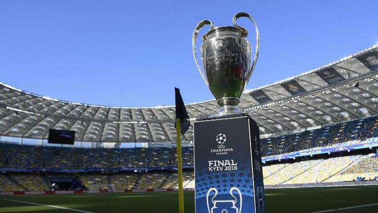 View of trophy before the UEFA Champions League final football match between Liverpool and Real Madrid at the Olympic Stadium in Kiev, Ukraine on May 26, 2018. / AFP PHOTO / LLUIS GENE