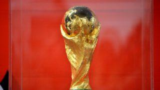 5492903 08.05.2018 2018 FIFA World Cup Trophy at the greeting ceremony, Yekaterinburg. Pavel Lisitsyn / Sputnik