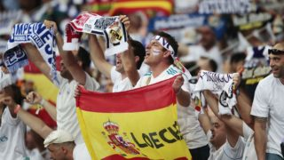 5512924 26.05.2018 Real Madrid fans during the 2017/18 UEFA Champions League final match between Real Madrid (Madrid, Spain) and Liverpool (Liverpool, England). Denis Tyrin / Sputnik