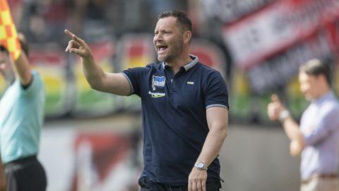 coach Pal DARDAI (B) gesture, gesture, Soccer 1. Bundesliga, 31. matchday, Eintracht Frankfurt (F) - Hertha BSC Berlin (B), on Apr 21, 1818 in Frankfurt / Germany.   usage worldwide