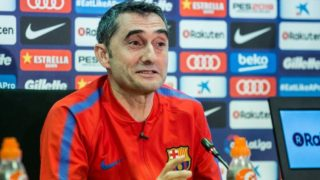 Ernesto Valverde during the press conference before the Spanish championship La Liga football match between FC Barcelona and Real Madrid on May 5, 2018 at Ciutat Joan Gamper in Barcelona, Spain - Photo Xavier Bonilla / Spain DPPI / DPPI