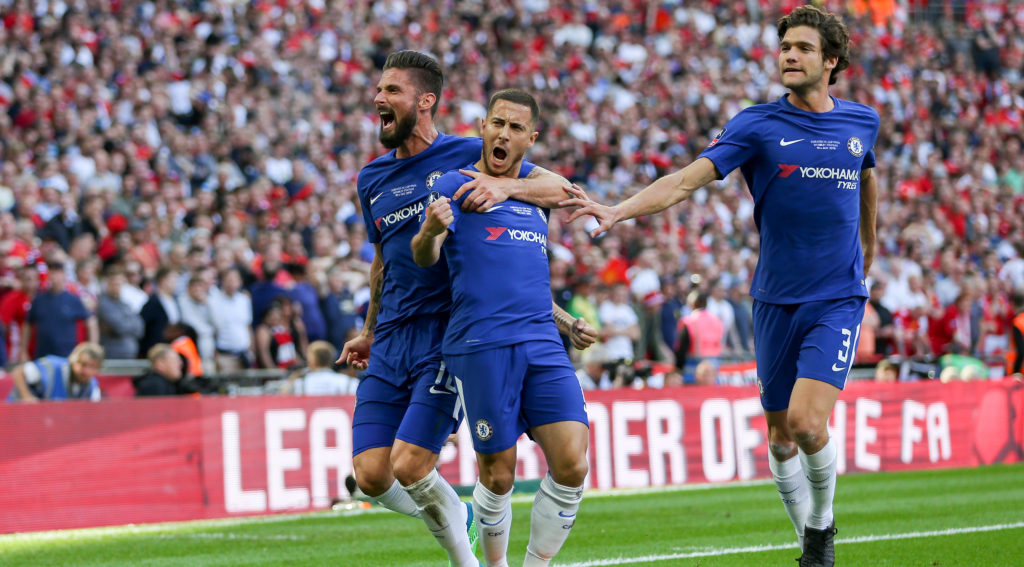 Chelsea Midfielder Eden Hazard celebrates his penalty goal 1-0 with Chelsea Oliver Giroud during the English cup, FA Cup Final football match between Chelsea and Manchester United on May 19, 2018 at Wembley Stadium in London, England - Photo Phil Duncan / ProSportsImages / DPPI