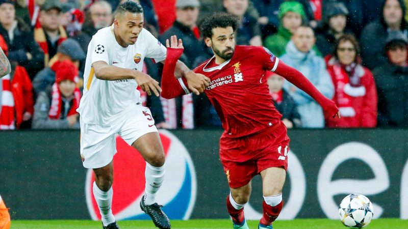 Liverpool striker Mohamed Salah (11) in action during the UEFA Champions League, semi final, 1st leg football match between Liverpool FC and AS Roma on April 24, 2018 at Anfield stadium in Liverpool, England - Photo Simon Davies / ProSportsImages / DPPI