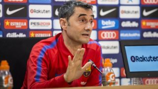 Ernesto Valverde during the press conference before La Liga match between FC Barcelona and Real Madrid on May 5, 2018 at Ciutat Joan Gamper in Barcelona, Spain  (Photo by Xavier Bonilla/NurPhoto)