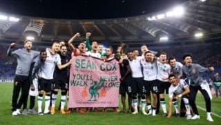 AS Roma v FC Liverpool training - Champions League semi-final second leg Liverpool players celebrating with a banner in honor of the irish supporter Sean Cox that suffered an attack in Anfield by Roma ultras at Olimpico Stadium in Rome, Italy on May 02, 2018  (Photo by Matteo Ciambelli/NurPhoto)