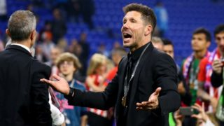 Olympique de Marseille v Atletico de Madrid - Uefa Europa League Final Diego Simeone manager of Atletico celebrates after the award ceremony at Groupama Stadium in Lyon, France on May 16, 2018 (Photo by Matteo Ciambelli/NurPhoto)