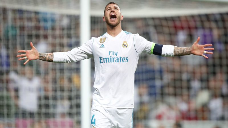 Real Madrid's Spanish defender Sergio Ramos reacts during the UEFA Champions League semi-final second-leg football match Real Madrid CF vs F (Photo by Raddad Jebarah/NurPhoto)
