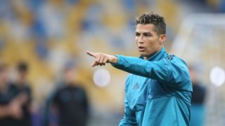 Real Madrid's Portuguese forward Cristiano Ronaldo during a Real Madrid team training session at the Olympic Stadium in Kiev, Ukraine on May 25, 2018, on the eve of the UEFA Champions League final football match between Liverpool and Real Madrid. (Photo by Raddad Jebarah/NurPhoto)