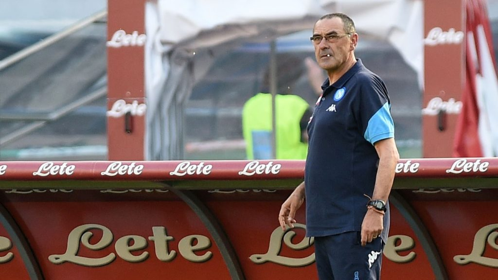 Head coach of SSC Napoli Maurizio Sarri during the Serie A TIM match between SSC Napoli and FC Crotone at Stadio San Paolo Naples Italy on 20 May 2018. (Photo Franco Romano/Nurphoto)