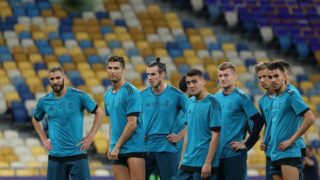 Real Madrid's players during a training session at the Olympic Stadium in Kiev. Ukraine, Friday, May 25, 2018 Tomorrow will be the final match of the Champions League between Real Madrid and Liverpool at the Olympic Stadium in Kiev. (Photo by Danil Shamkin/NurPhoto)