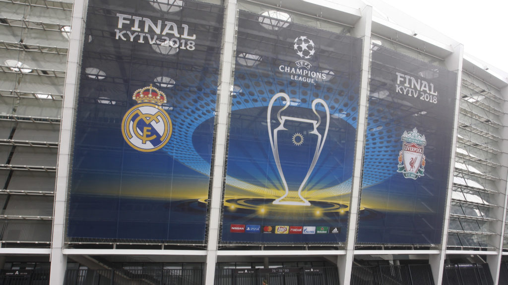 A banner with the logo for the 2018 UEFA Champions League Final is seen on the NSC Olimpiyskiy football stadium, where will hold the final match of the UEFA Champions League Final 2018 , Kiev, Ukraine, 14 May, 2018 . Kiev is preparing for the 2018 UEFA Champions League Final which will be played at the NSC Olimpiyskiy Stadium on May 26.  (Photo by STR/NurPhoto)