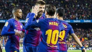 FC Barcelona forward Lionel Messi (10) celebrates scoring the goal with FC Barcelona defender Gerard Pique (3) during the match between FC Barcelona v Real Madrid, for the round 36 of the Liga Santander, played at Camp nou  on 6th May 2018 in Barcelona, Spain.  -- (Photo by Urbanandsport/NurPhoto)