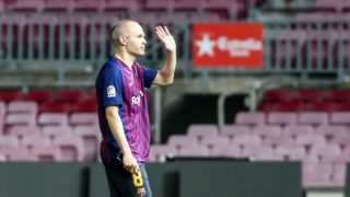 FC Barcelona midfielder Andres Iniesta (8) alone in the grass of Camp Nou says goodbye to the stadium after playing his last game with FC Barcelona. after the match between FC Barcelona against Real Sociedad, for the round 38 of the Liga Santander, played at Camp nou  on 21th May 2018 in Barcelona, Spain. (Photo by Urbanandsport/NurPhoto)
