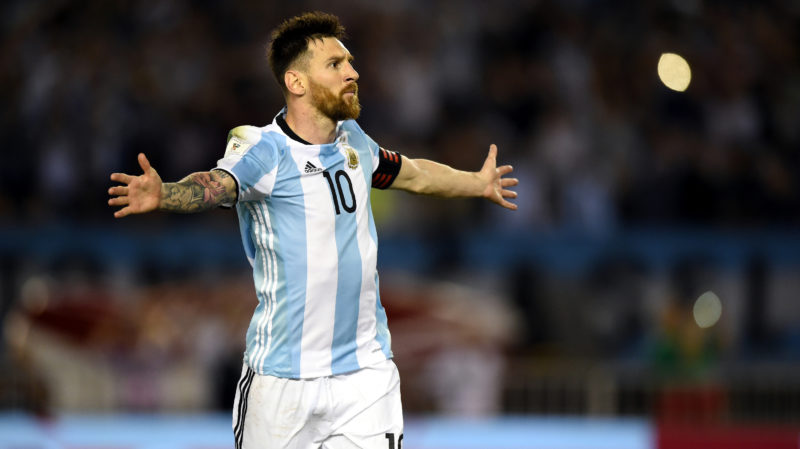(FILES) In this file photo taken on March 23, 2017 Argentina's Lionel Messi celebrates after scoring against Chile during their 2018 FIFA World Cup qualifier football match at the Monumental stadium in Buenos Aires, Argentina. / AFP PHOTO / EITAN ABRAMOVICH