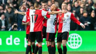 Feyenoord's Robin van Persie (C) celebrates after scoring during the eredivisie match between Feyenoord and Heracles in Rotterdam, on Febraury 18, 2018.  / AFP PHOTO / ANP / Dennis WIELDERS / Netherlands OUT