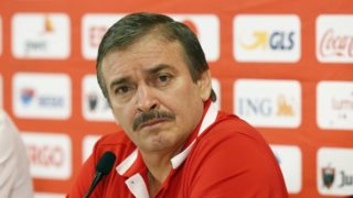 Costa Rica head coach Oscar Antonio Ramirez attends a press conference on June 10, 2018 in Brussels, ahead of the Russia 2018 World Cup. / AFP PHOTO / BELGA / NICOLAS MAETERLINCK / Belgium OUT