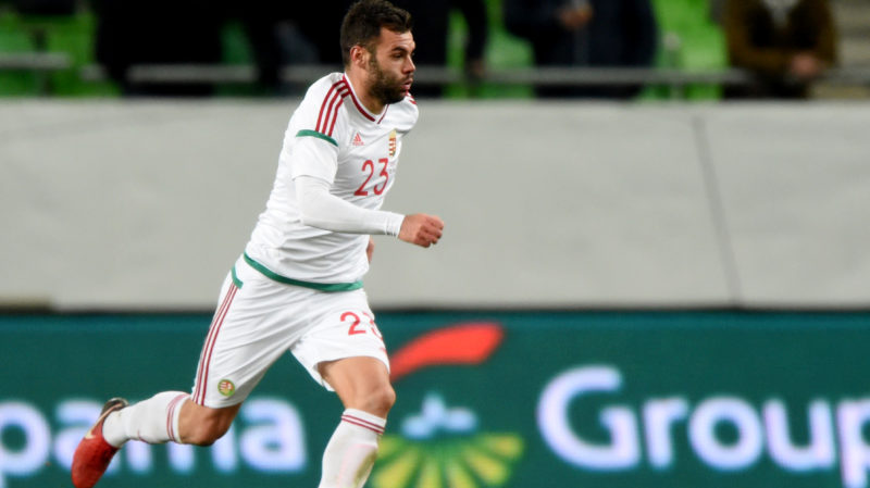 Hungary's Nemanja Nikolic runs with the ball during a friendly football match against Costa Rica on Nocember 14, 2017 in Groupama Arena of Budapest.  AFP PHOTO / ATTILA KISBENEDEK / AFP PHOTO / ATTILA KISBENEDEK