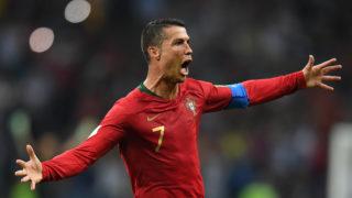 SP80615031. Sochi, 15 Jun 2018 (Notimex-Sputnik).- El portugués Cristiano Ronaldo celebra el gol durante el partido de futbol del Grupo B de la Copa Mundial entre Portugal y España en el estadio Fisht en Sochi, Rusia. NOTIMEX/FOTO/SPUTNIK-GRIGORIY SISOEV/SPO/RUSIAC