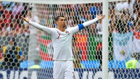 Cristiano Ronaldo of Portugal celebrates with after defeating Morocco in their Group B match during the 2018 FIFA World Cup in Moscow, Russia, 20 June 2018.  Cristiano Ronaldo powered-home a fourth-minute header to give Portugal a 1-0 World Cup victory over Morocco that took it top of Group B on and meant the unlucky North African side become the first to be eliminated from the tournament. Ronaldo's fourth goal of Russia 2018, following his hat-trick in the 3-3 draw with Spain, took the European champions to four points. Iran has three points and Spain one ahead of their meeting later. Morocco, who had a real go at the Luzhniki Stadium but failed to convert their chances, are pointless having also lost 1-0 to Iran and cannot progress to the second round.