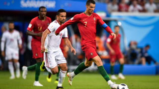 Cristiano Ronaldo of Portugal, right, challenges Omid Ebrahimi of Iran in their Group B match during the 2018 FIFA World Cup in Saransk, Russia, 25 June 2018.  Mexico won its World Cup opener, hanging on to defeat defending champion Germany 1-0 in Moscow. Hirving Lozano scored in the 35th minute for the game's only goal. Germany dominated possession (61 percent) throughout the match, but Mexico consistently threatened on the counter-attack. Mexico failed to convert a number of chances, unable to play the final ball and increase their lead. Mexico sat back and absorbed pressure in the second half, defending well as a unit and preventing Germany from getting many clear chances on goal. Germany completed Germany managed 25 shots, with nine on target. Defender Rafael Marquez came on a substitute for Mexico, becoming just the third player to appear in five World Cups. Goalkeeper Guillermo Ochoa was the hero again, four years after a tremendous performance in Brazil.