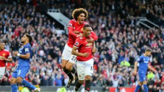 Manchester United Forward Anthony Martial celebrates his goal with Manchester United Midfielder Marouane Fellaini during the English championship Premier League football match between Manchester United and Everton on September 17, 2017 at Old Trafford in Manchester, England - Photo Phil Duncan / ProSportsImages / DPPI