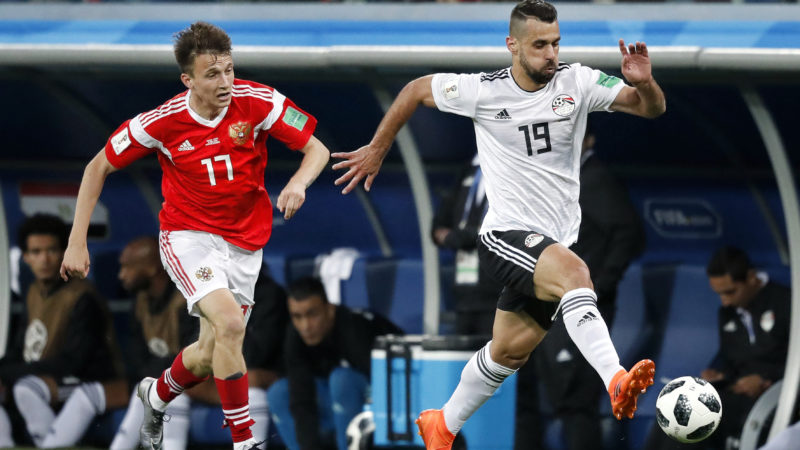 Russia Aleksandr Golovin (L) and Egypt Abdalla Said (R) during the 2018 FIFA World Cup Russia, Group A football match between Russia and Egypt on June 19, 2018 at Saint Petersburg Stadium in Saint Petersburg, Russia - Photo Stanley Gontha / Pro Shots / DPPI