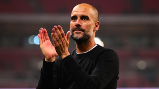 LONDON, ENGLAND - APRIL 14: Manchester City manager Josep Guardiola applauds the supporters following the Premier League match between Tottenham Hotspur and Manchester City at Wembley Stadium on April 14, 2018 in London, England. (Photo by Chris Brunskill Ltd/Getty Images)