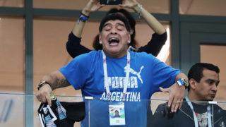 NIZHNIY NOVGOROD, RUSSIA - JUNE 21: Maradona is seen during the 2018 FIFA World Cup Russia group D match between Argentina and Croatia at Nizhniy Novgorod Stadium on June 21, 2018 in Nizhniy Novgorod, Russia. (Photo by Ian MacNicol/Getty Images)