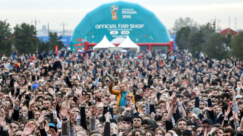 MOSCOW, RUSSIA - JUNE 10, 2018: People attend the opening of the FIFA Fan Fest on Vorobyovy Gory (Sparrow Hills) ahead of the 2018 FIFA World Cup. Mikhail Japaridze/TASS (Photo by Mikhail JaparidzeTASS via Getty Images)